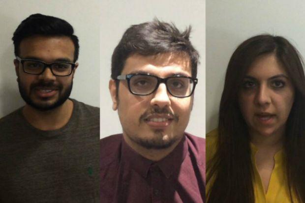 Left to right: Deep Patel, Jugraaj Sangha, and Laila Ahmad