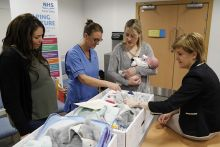 Nicola Sturgeon delivers the first baby boxes to mums at Clackmannanshire Health Centre