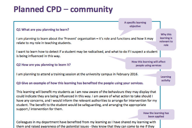 planned CPD example