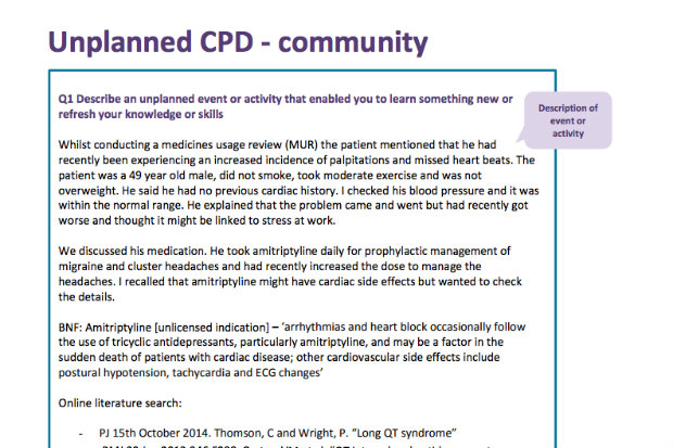 unplanned CPD example