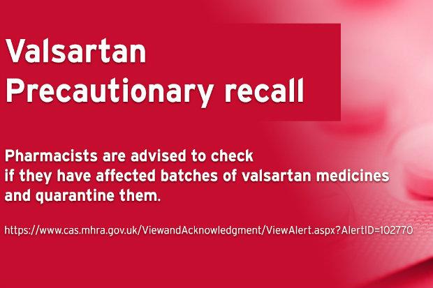 Widely taken blood pressure drug valsartan recalled