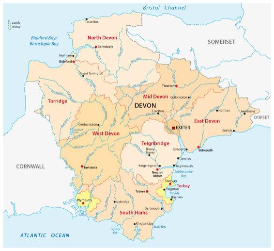 Devon map