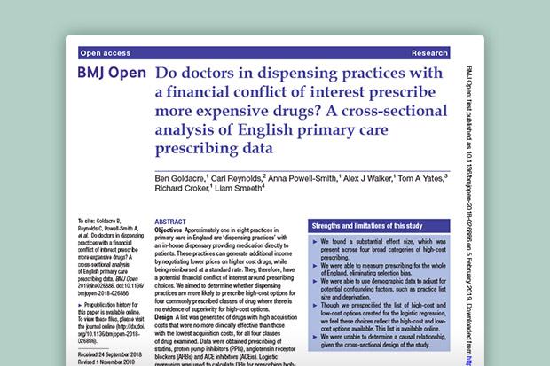 Do dispensing doctors have a prescribing conflict of