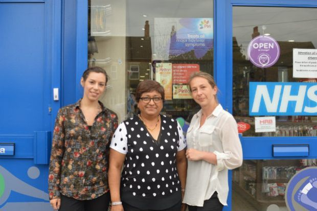Pharmacy owner Indira Panchal (centre): We're having to turn prescriptions away