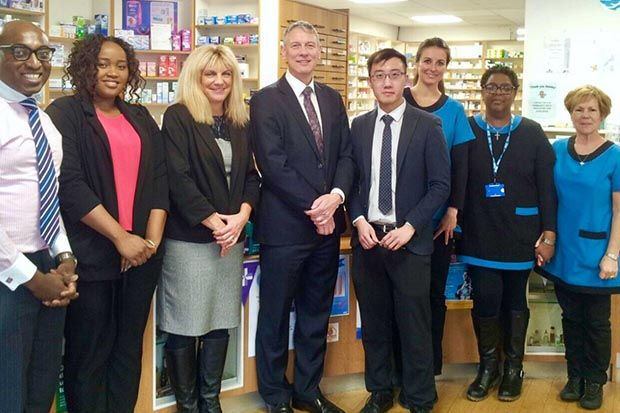 Dr Bruce Warner with the Bedminster Pharmacy team (see names at end of article)