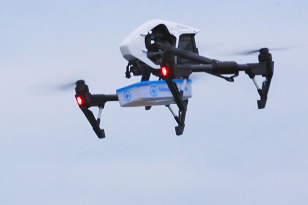 A drone carrying medicines during a MedExpress test flight in May