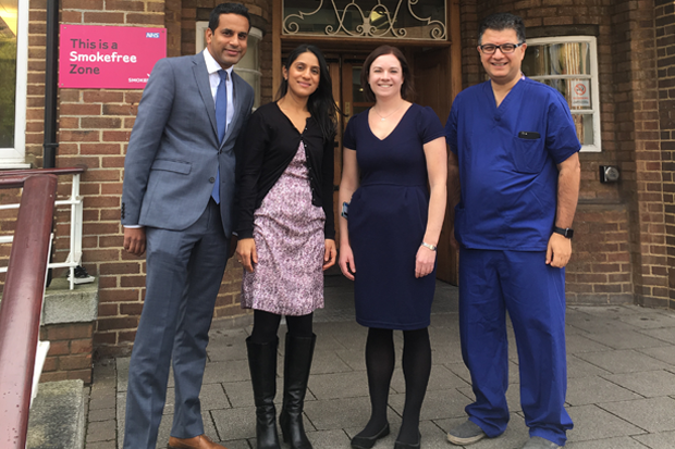 The Capture AF team: (left to right) community pharmacist Rikin Patel; hospital pharmacist Zainab Khanbhai; lead arrhythmia pharmacist Sally Manning; and cardiologist Dr Wajid Hussain