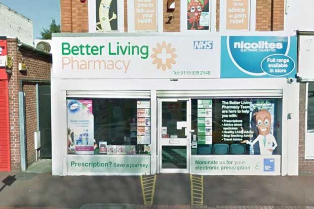 Peak Pharmacy, Nottinghamshire closed last month. Credit: © 2017 Google, image capture: April 2016