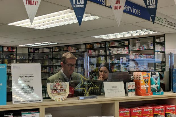 Owner Stuart Frost and manager Noha El-Gamal say housing a local surgery protected the pharmacy