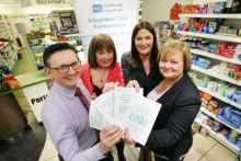 Pharmacists Philip Boyle, Joanne McMullan and Patricia Finnegan, with South Eastern Trust Carers Support Service's Joan Scott (second left)