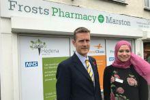 Pharmacy owner Stuart Gale and pharmacy manager Noha El Gamel outside Marston Pharmacy