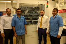 From left to right: Pharmacist manager Nanda Ghanta, accuracy checking dispenser Pramod Thatikonda, director of pharmacy Sandeep Khosla, accuracy checking dispenser Vinod Kumar