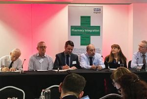 Duncan Rudkin (second from left) spoke on a panel about how pharmacy can support the NHS